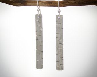 Birch Bark patterned sterling silver dangle earrings