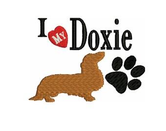 a dog embroidery design , Dachshund