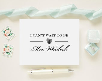"""Custom Color Wedding Day Card for Your Groom, Fiance, Future Husband - """"I Can't Wait To Be Mrs..."""" - Thumbprint Heart"""