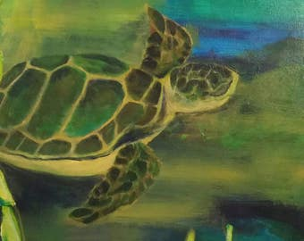 Sea Turtle mixed media collage painting wall art