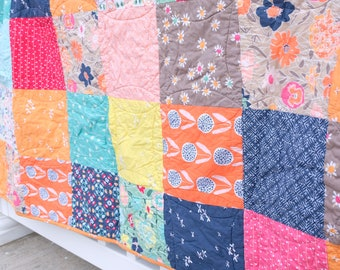 Couch Quilt, Modern Quilt, Ready to ship quilt, Cotton anniversary gift, Floral quilt