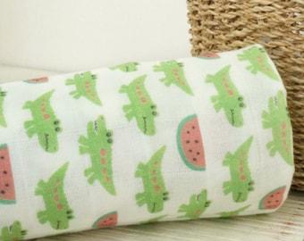 Double Gauze Fabric Crocodile By The Yard