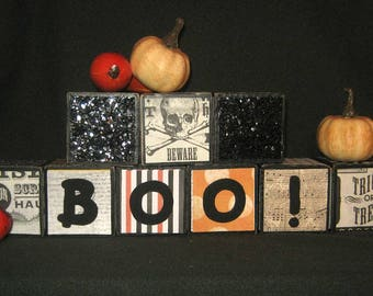 "2 inch - Set of 6 Blocks - ""BOO!"" LETTER BLOCKS - Hand Painted"