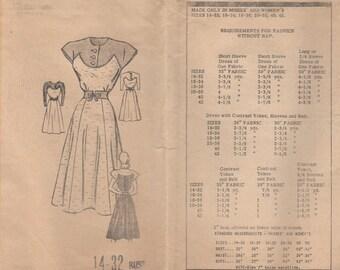 Unusual 40s Vintage Dress Pattern 3810 Size 14