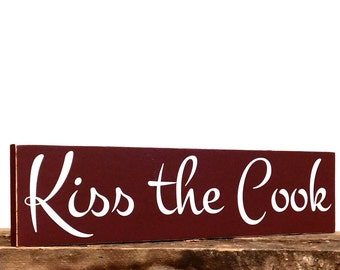 Kitchen Wall Decor, Kiss The Cook Sign, Kitchen Plaque With Saying For Gifts, Wall Sign For Kitchen, Kitchen Gifts, Cute Kitchen Sayings