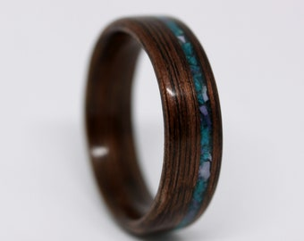In Stock Wood Ring: Size 10.75 (6.5mm width), Black Walnut Wood Ring with Chrysocolla and Bertrandite Stone Inlay