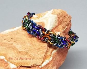 Vipera Berus Chainmaille Bracelet, Rainbow Anodized Aluminum
