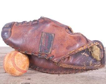 Vintage Leather Baseball Glove / Rawlings Trapper Claw Glove / Old Baseball Glove Leather Glove / Unique Mens Gift Antique Mitt