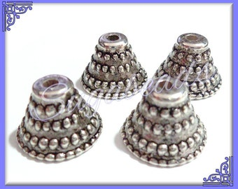 24 Antique Silver Bell Bead Caps 10mm x 14mm Acrylic w Metal Look and Feel - Bead cap ends