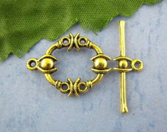 4 clasps metal Toggle gold plated 13 x 17 mm