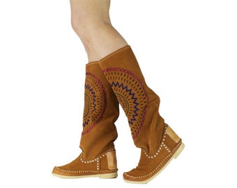 WOMAN spring summer HANDMADE rust STAR,Moccasin Boots,Womens Moccasins,Suede Moccasins,hippi festival,Womens Boots, size in stock 38 ue