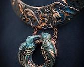 RAVEN NECKLACE Huginn & Muninn, polymer clay, celtic pendant, dark blue clay jewelry, Odin, celtic patterns, magic, wicca