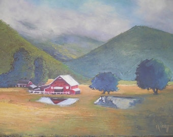"Painting on Sale, Rural Landscape, Daily Painting, Farm Painting ""Valley View"" , 16x20"" Oil Painting, reduced from 595.00"