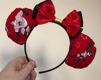 Incredibles inspired Mickey/Minnie Disney ears featuring Mr Incredible, Mrs Incredible and Violet