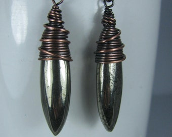 Wire wrapped Pyrite Daggers