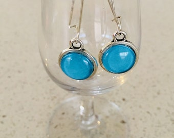 Womens Earrings/Pretty Handcrafted Antique Silver  Cabochon Boho Turquoise earrings for  women
