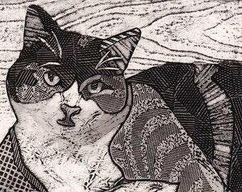 Calico Cat Art, Original Collograph, Print, Black and White - Musica 10
