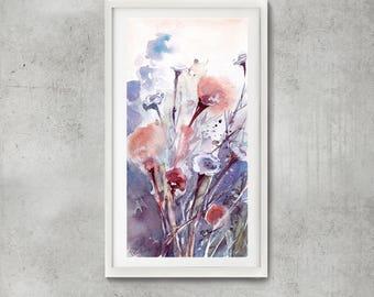 Abstract purple botanical Original watercolor painting, abstract realism floral painting, painting of flowers, floral composition painting