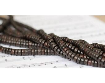 Set of 20 ebony wood - 8x3.5mm rondelle beads