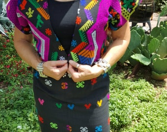 Vintage Embroidered Woven Cotton Skirt and Bolero Jacket  Guatemalan Textile Size S / M