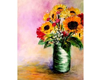 """Vase Of Sunflowers 18""""w by 24""""h Acrylic Painting Free Shipping"""