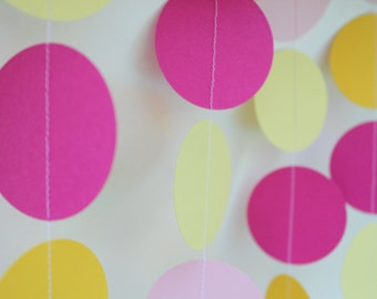 Birthday Party Decoration, Baby shower decor, Paper garland, Pink lemonade
