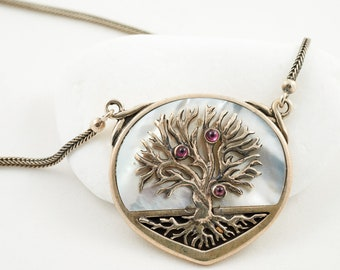Silver necklace, Tree of life, Handmade necklace, Mother of Pearl, Garnet stones, Natural stones