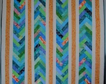 FOUR FRENCH BRAIDS, Tropical Color Batik Quilt