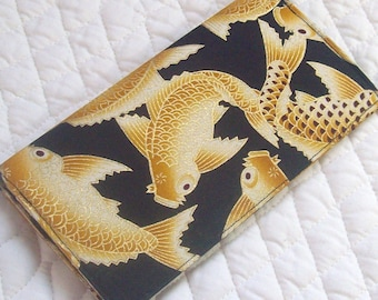 golden koi checkbook cover wallet inside fabric has changed