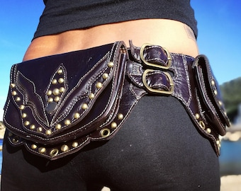 Leather Utility Belt/ Burning man/ Festival/ Hip Belt/ Pocket Belt