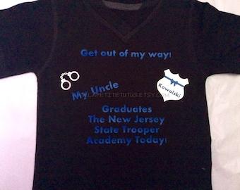 State trooper shirt, graduation shirt, trooper tshirt, vinyl shirt, girls shirt, boys shirt, sibling shirt, vinyl shirt, toddler tshirt