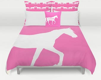 Horse Duvet Cover, Horse Bedding, Horse lover gift, Girls Room Bedding, Choose your color