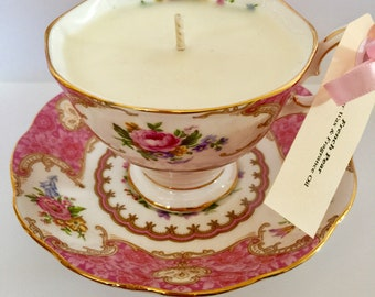 Vintage teacup candle  (teacup and saucer) - Royal Albert Lady Carlyle - mismatched cup and saucer