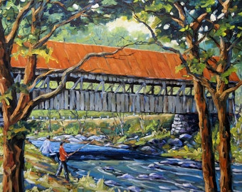 New England Covered Bridge Oil painting created by Prankearts