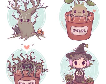 """Kawaii Herbology Stickers and/ or Prints (6x6 or 8x8"""")"""
