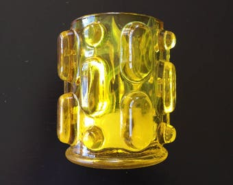 1960's Groovy Pebbled Glass Votive Candleholder - Gold/Yellow