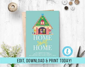 New Home Announcement Template, Printable Moving Announcement, Address Announcement, House Announcement, Instant Download, Editable, PDF