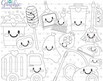 Clean Up Stamps, Chore Stamps, COMMERCIAL USE, Housekeeping Stamps, Clean, Digi Stamp, Clean Up Digistamp, Clean Up Coloring Page