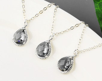 Charcoal Gray Necklace SET OF 4 - 8% OFF Gray Bridesmaid Necklaces - Silver Gray Glass Pendant Necklace - Wedding Jewelry - Bridal