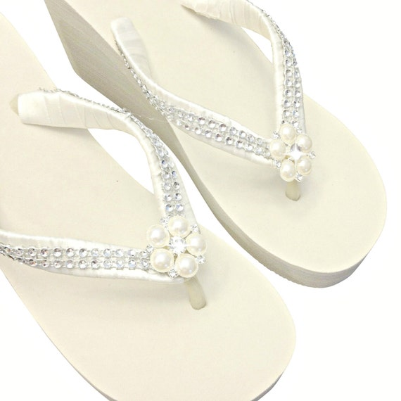Wedge Flip Flops Flip Flop Flops and Flops WEDGE Bling Bridal Platform Beach Flip Flops Flip Flip Pearl Wedding Rhinestone Wedding Xqwxf16I