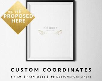 Custom Printable - Wedding Anniversary Custom Print - Wedding Monogram Logo - Hand Drawn Laurel Wreath - Latitude Longitude Coordinates 17