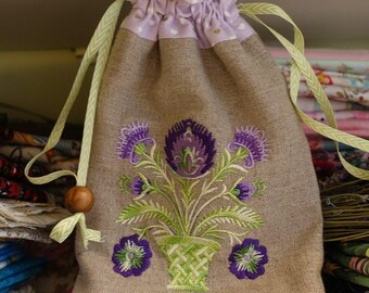 Wycinanki Linen Drawstring Bag Purple Green Flowers