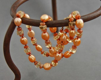 Tamarind - Citrine Pearl Statement Necklace, pale orange pearl and gemstone necklace, citrine pearl strand, handmade pearl necklace, gift