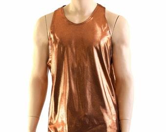 Mens Copper Metallic Lycra Spandex Muscle Shirt Mens Rave or Festival Shirt 152809
