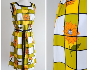 1960s Green yellow check cotton tie belt sheath dress / 60s orange black daisy print shift summer day dress - S