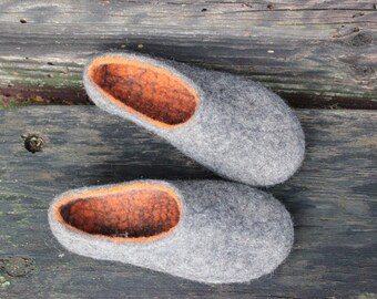 Felt wool slippers Charcoal grey  Women home shoes Winter slippers Warm gift