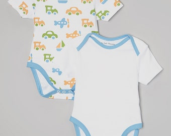 2-Pack Trains, Planes, and Cars Print Onesie Set