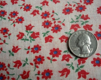 Nice Vintage feedsack floursack fabric full feed sack flour sack  red and white floral pattern