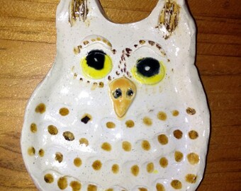 Owl tea bag holder, soap dish, spoon rest, jewelry holder handmade in USA