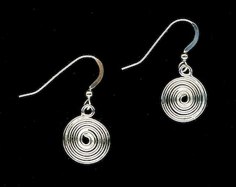 Spiral Earrings Dangle Sterling Silver Large Spirals Wire Jewelry Silver Anniversary